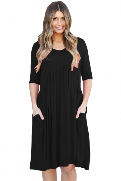 Black 3/4 Sleeve Draped Swing Dress