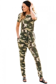 Camouflage Short Sleeve Drawstring Casual Jumpsuit