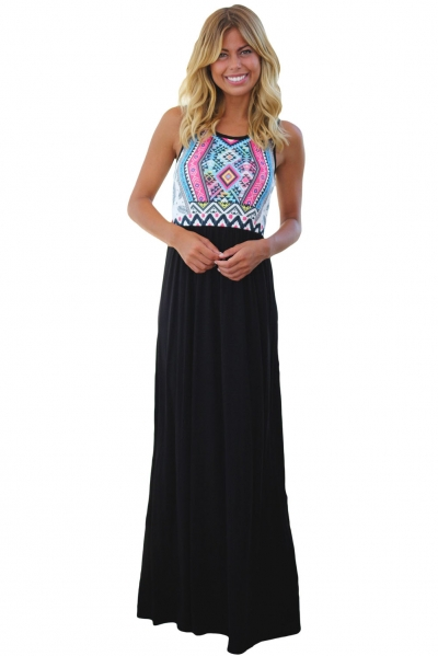 Stylish Tribal Print Sleeveless Black Maxi Dress