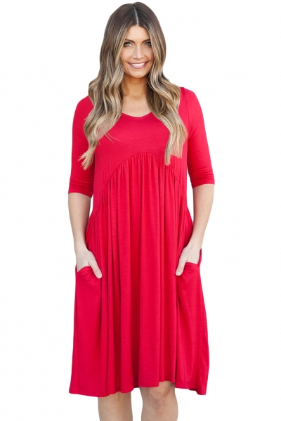 Red 3/4 Sleeve Draped Swing Dress