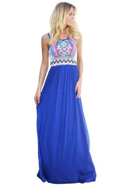 Stylish Aztec Print Sleeveless Royal Blue Maxi Dress