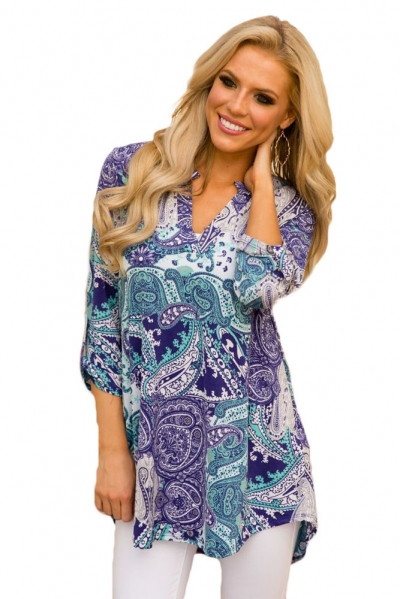 Purple Green Floral Paisley Print Slight V Neck Blouse
