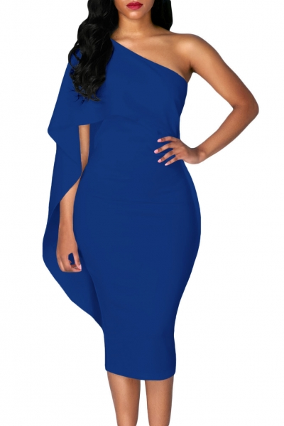 Royal Blue Batwing Sleeve One Shoulder Sheath Dress ZEKELA.com