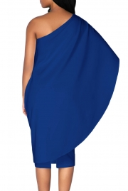 Royal Blue Batwing Sleeve One Shoulder Sheath Dress