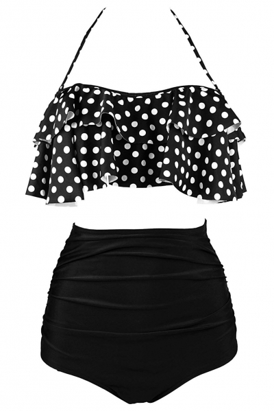 Black White Polka Dot Retro Boho Flounce High Waist Swimsuit