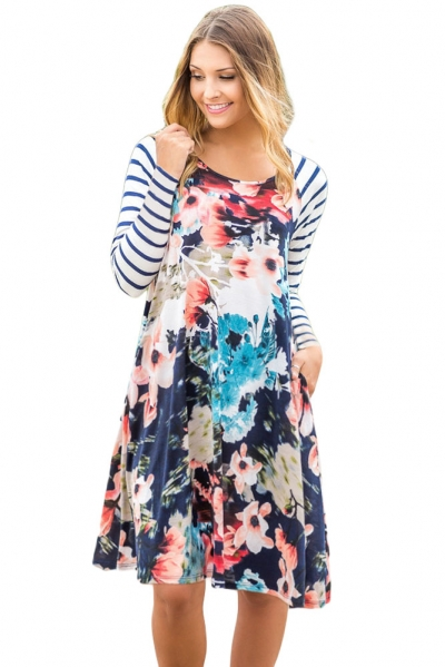 Multiple Floral Print Stripe Raglan Sleeve Dress