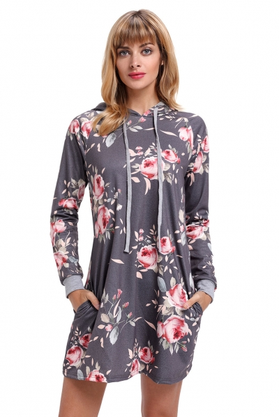 Grey Floral Print Drawstring Hoodie Dress