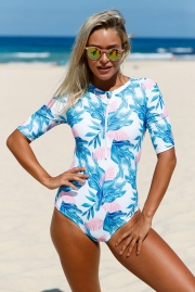 Red Blue Leaves Zip Front Half Sleeve One Piece Swimsuit