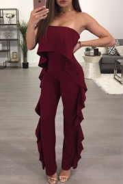 Burgundy Delicate Ruffle Trim Strapless Jumpsuit