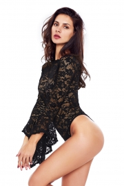 Black Sheer Floral Lace Long Bell Sleeve Bodysuit - ZEKELA.com d7198821e