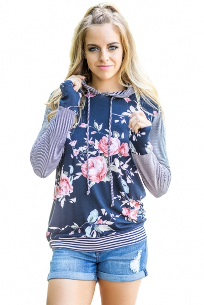 Navy Pinstripe Accent Floral Print Drawstring Hoodie