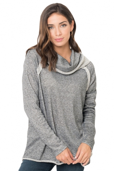 Gray Raw Edge Cowl Neck Pullover Sweatshirt