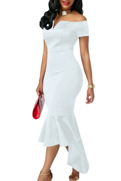 White Off Shoulder Short Sleeve Mermaid Dress zekela.com