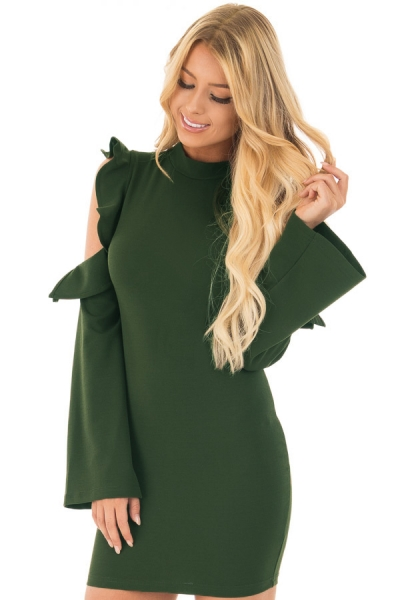 Army Green Cold Shoulder Ruffle Long Sleeve Bodycon Dress