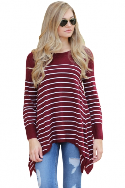 Wine Striped Knit Pullover Sweater Top