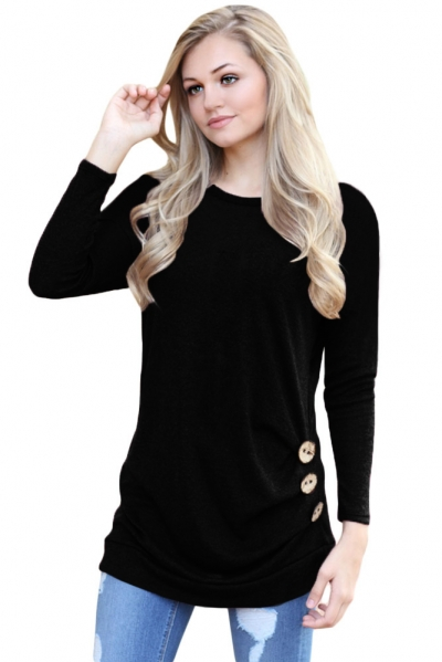 Black Buttoned Side Long Sleeve Spring Autumn Womens Top zekela.com