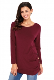 Claret Buttoned Side Long Sleeve Spring Autumn Womens Top