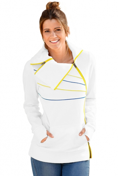 Zip and Piping Trim White Sweatshirt