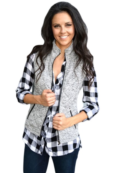 Gray Zipped Quilted Vest with Pockets