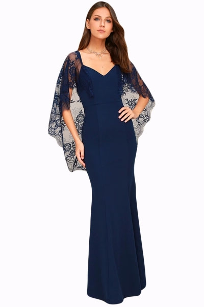 Navy Blue V Cut Open Back Lace Cape Sleeve Maxi Evening Dress