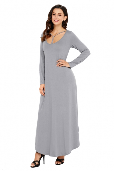 Gray Y Strap Neckline Relaxed Long Jersey Dress