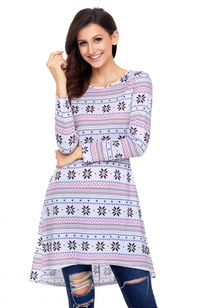 Geometric Snowflake White Long Sleeve Christmas Dress
