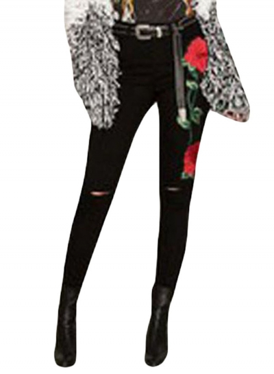 Double Rose Embroidery Distressed Black Skinny Jeans
