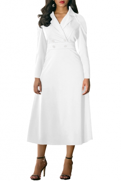 White Vintage Button Collared Fit-and-flare Dress