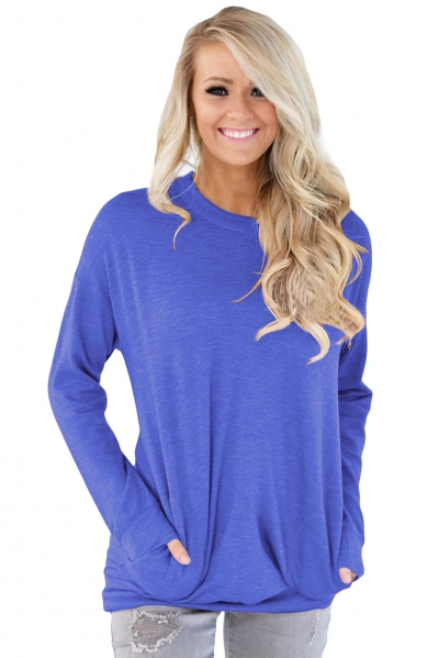 Blue Casual Pocket Style Long Sleeve Top
