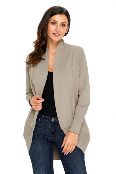 Khaki Super Soft Long Sleeve Open Cardigan