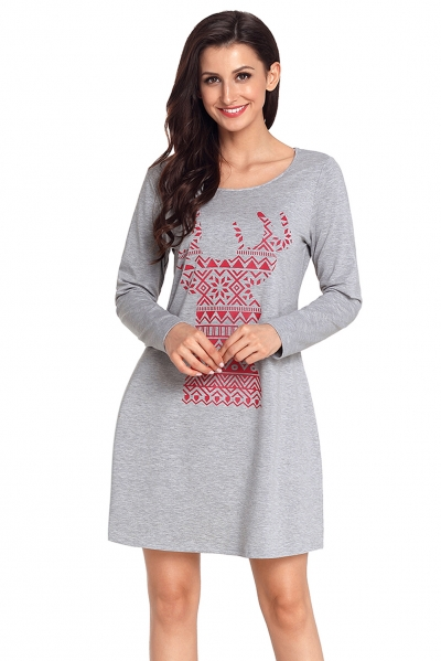 Geometric Snowflake Reindeer Grey Christmas T-shirt Dress