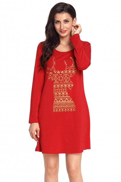 Geometric Snowflake Reindeer Red Christmas T-shirt Dress