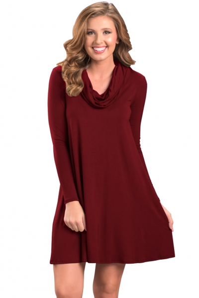 Red Cowl Neck Long Sleeve Casual Loose Swing Dress