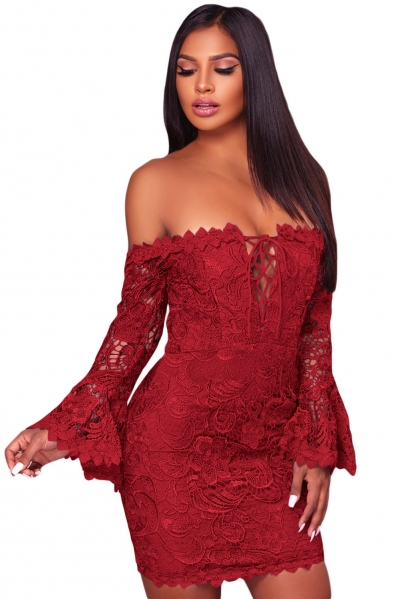 Purplish Red Crochet Overlay Off The Shoulder Fitted Mini Dress