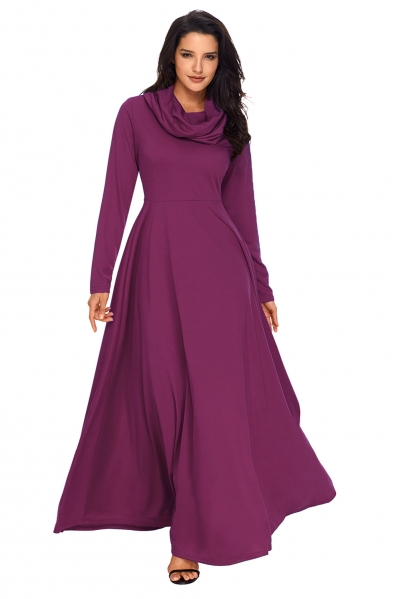Purple Cow Neck Long Sleeve Maxi Dress