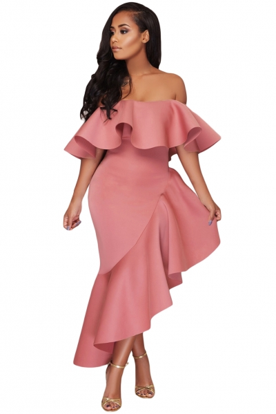 Pink Asymmetric Ruffle Off Shoulder Party Dress