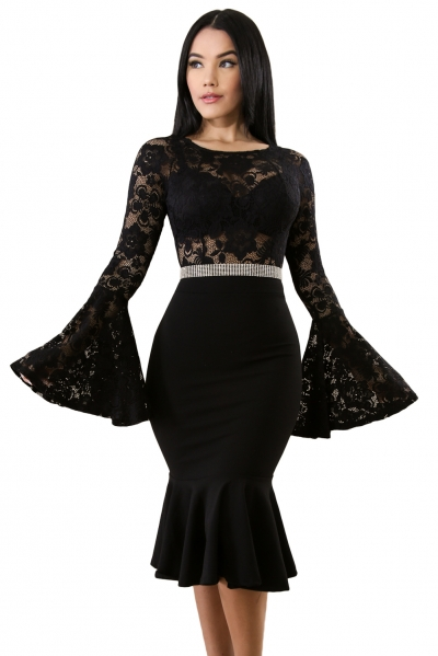 Black Lace Bell Mermaid Bodycon Party Dress
