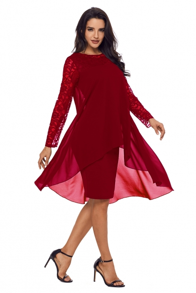 Burgundy Lace Long Sleeve Double Layer Midi Dress Zekelacom