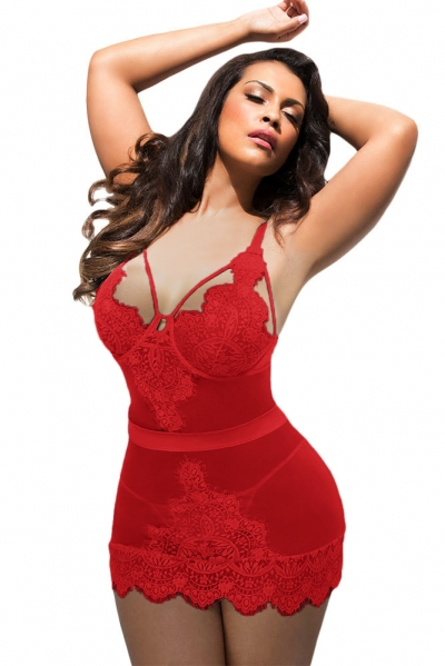 Plus Size Red Eyelash Lace Chemise