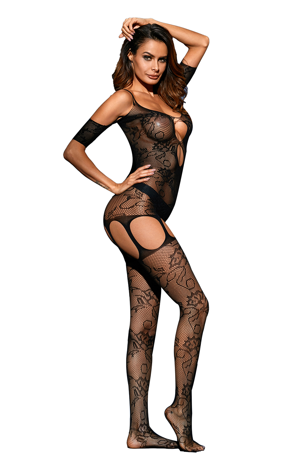 993be0f452 Black Pothole Cutout Bare Shoulder Lace Bodystocking - ZEKELA.com