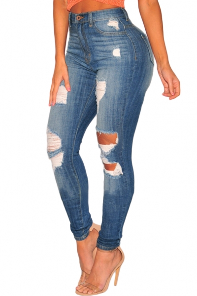 Denim Ripped High Waist Skinny Jeans