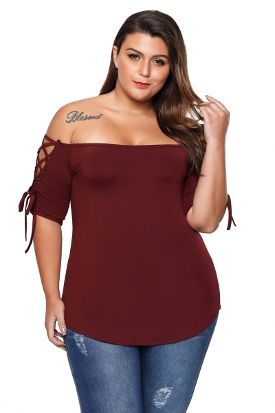Wine Plus Size Lace-up Shoulder Tee Top