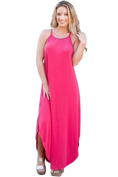 Sexy Summer Tank Maxi Dress in Rosy