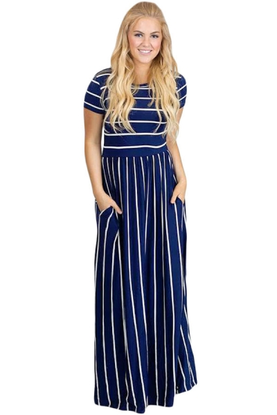 White Striped Navy Short Sleeve Maxi Dress