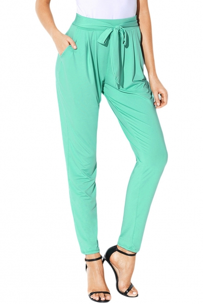 Light Green Casual High Waist Belted Harem Pants