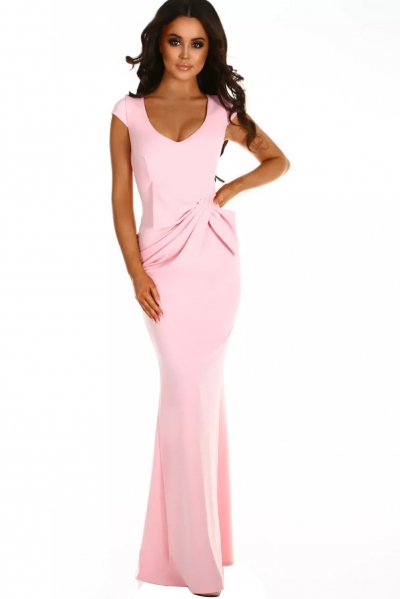 Pink Ruched Waist Wedding Party Maxi Dress