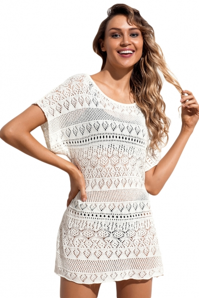 White Hollow Lace Crochet Short Cover Up Dress