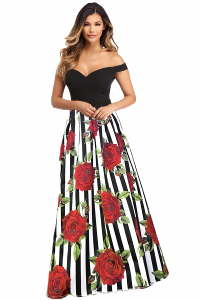 Off Shoulder Sweetheart Neck Bodice Red Floral Print Gown