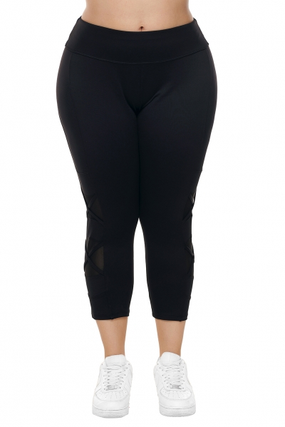 Black Crisscross Mesh Cutout Plus Size Yoga Pants